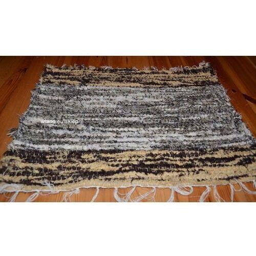 Chodnik bawełniany (wycieraczka) ręcznie tkany szaro-brązowo-ecru 65x50 marki Twórczyni ludowa