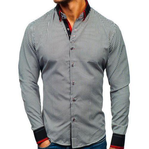 Koszula męska w paski z długim rękawem czarno-biała 2751, Bolf