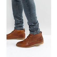 River island leather boots with borg lining in brown - tan