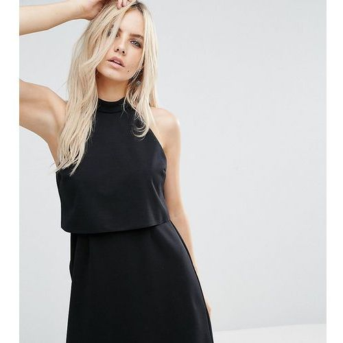 ASOS PETITE Mini Dress with Crop Top Layer and High Neck - Black