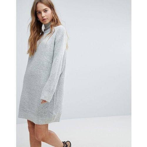 Bershka High Neck Knitted Jumper Dress - Grey