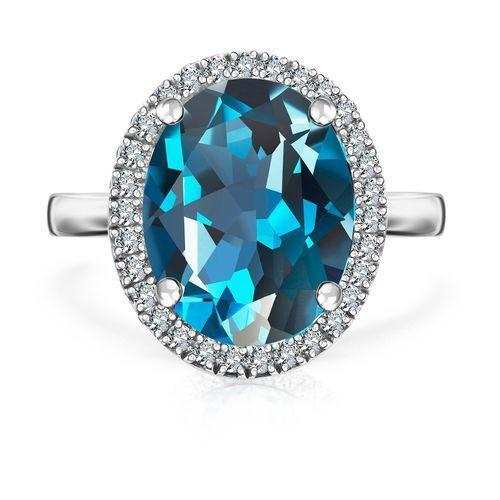 Biżuteria yes Jubilé - złoty pierścionek z london blue topazem i diamentami