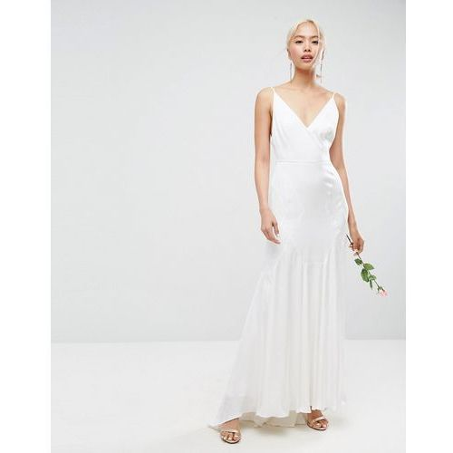 bridal cami maxi dress with panelled seam details - white, Asos