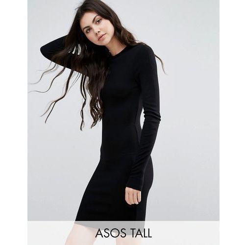 ASOS TALL Mini Bodycon Dress in Rib with Long Sleeves - Black, suknia, sukienka ASOS Tall