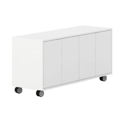 Plan Szafka na kółkach z drzwiami white layers, białe drzwi