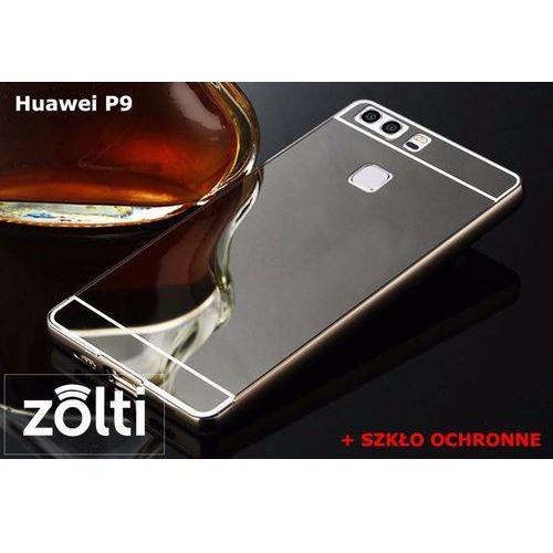 Zestaw   Mirror Bumper Metal Case Czarny + Szkło ochronne Perfect Glass   Etui dla Huawei P9