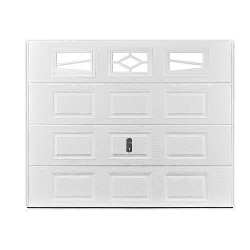 Brama garażowa segmentowa z kasetonami ASLAN biała z okienkami