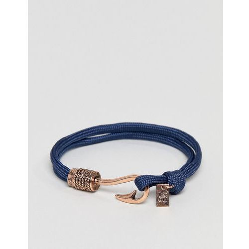 Icon brand navy cord bracelet with rose gold hook - navy