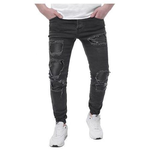 Spodnie jeansowe męskie joggery - a42 - czarne, Risardi, S-XXL