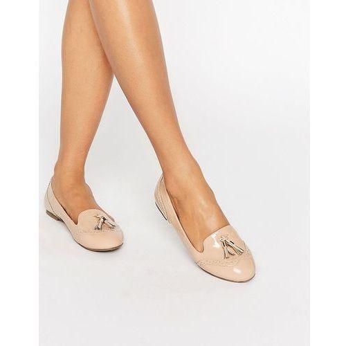 karina brogue tassel loafers - beige marki Miss kg