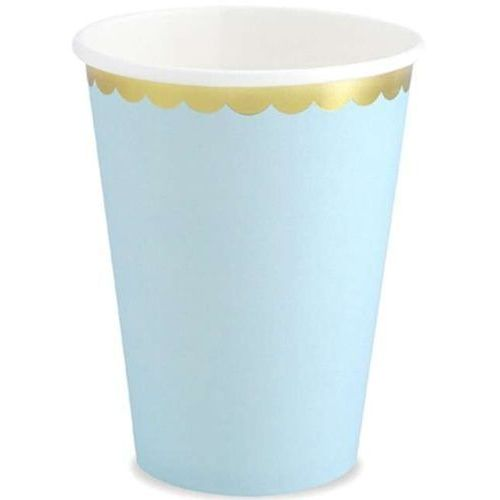 "Kubeczki papierowe ""golden border"", błękitne, , 220 ml, 6 szt marki Partydeco"