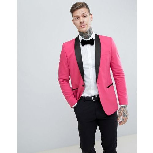 ASOS DESIGN Slim Tuxedo Suit Jacket In Bright Pink With Black Contrast Lapel - Pink, kolor różowy