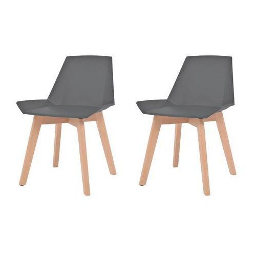 vidaXL Komplet 2 krzeseł, drewniane nogi i szare, plastikowe siedziska (8718475564911)