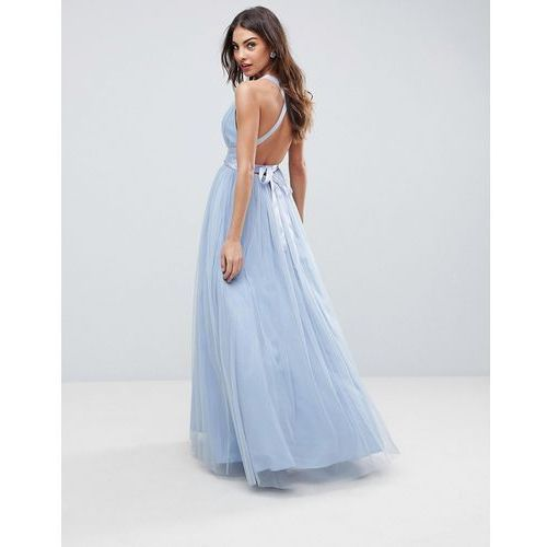 ASOS DESIGN Premium tulle maxi prom dress with ribbon ties - Blue