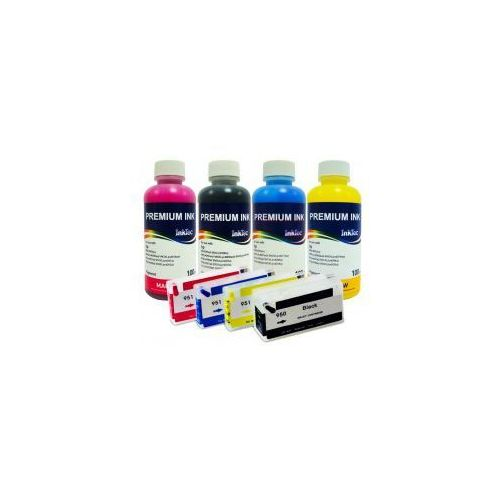Wieczne Kartridże do HP Officejet 950/951 + Tusz InkTec Pigment 4x100 ml.