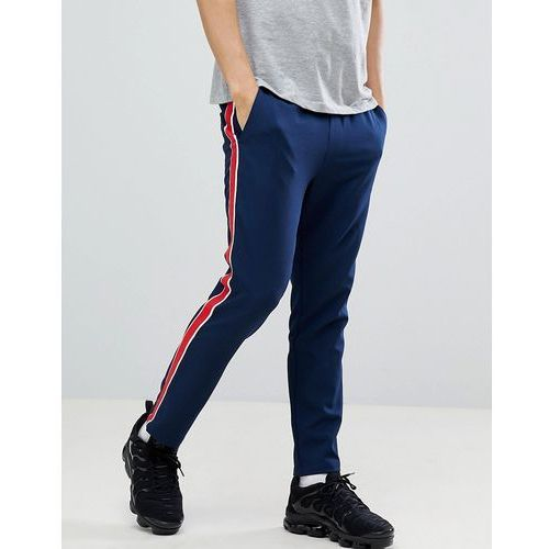 ASOS DESIGN Slim Cropped Trousers In Navy With Red Side Stripe - Navy, kolor szary