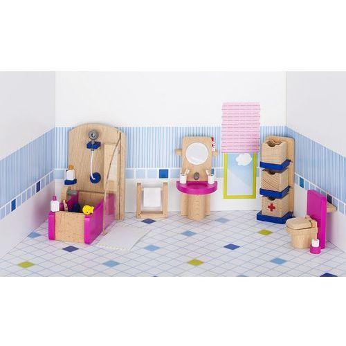 Mebelki do łazienki z różowymi elementami, 22 elementy (4013594517485)