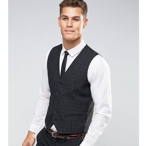 Selected Homme Suit Waistcoat with Mini Tartan in Skinny Fit with Stretch - Black