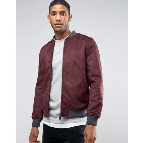River Island Faux Suede Bomber Jacket In Burgundy - Red, bomberka