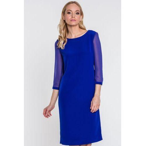 Kobaltowa sukienka z ciekawym tyłem - Far Far Fashion, kolor niebieski