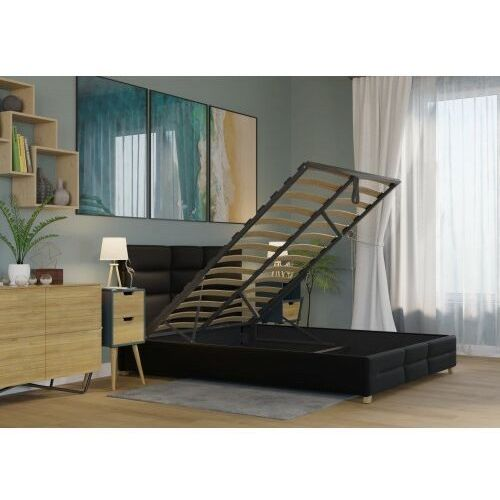 Big meble Łóżko 120x200 tapicerowane bergamo + pojemnik + materac ekoskóra czarne