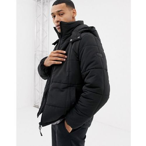 lightweight zip through hooded puffer jacket - black marki Esprit