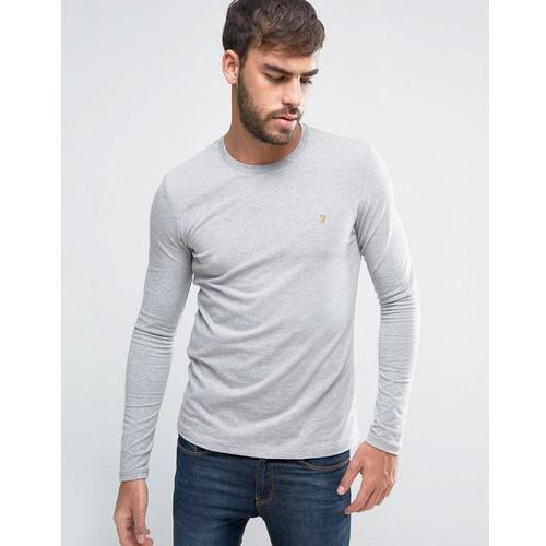 Farah southall super slim fit logo long sleeve t-shirt in grey - grey