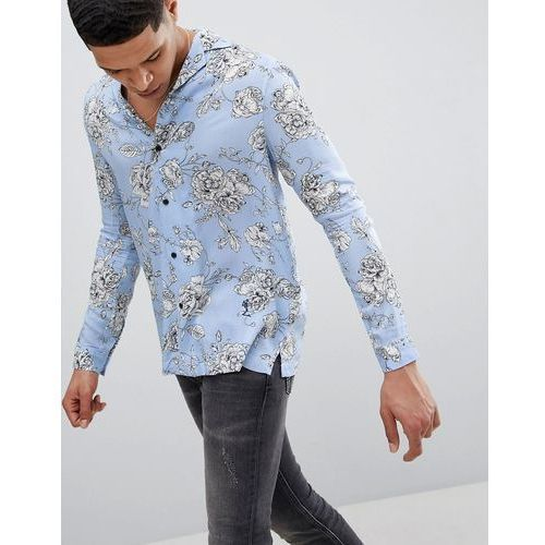 Religion Long Sleeve Revere Shirt In Blue With Rose Print - Blue, 1 rozmiar