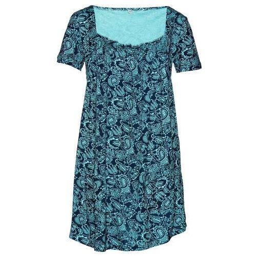 Tunika shirtowa, krótki rękaw bonprix morsko-ciemnoniebieski wzorzysty, kolor niebieski