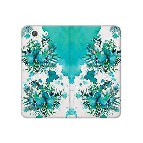 Sony Xperia Z3 Compact - etui na telefon Flex Book Fantastic - turkusowa orchidea, kolor niebieski