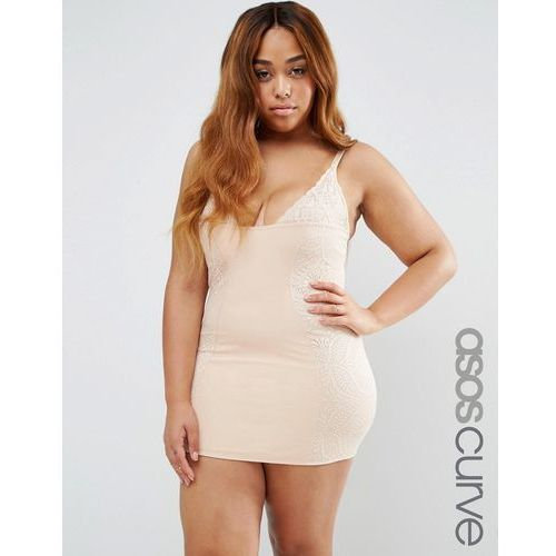 ASOS CURVE SHAPEWEAR New Improved Fit Wear Your Own Bra Lace Slip - Beige