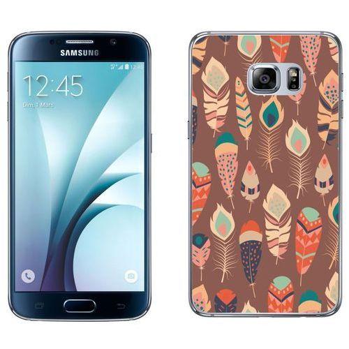 Samsung Galaxy S6 etui na telefon - Kolekcja boho - piórka na brązowym tle - J17