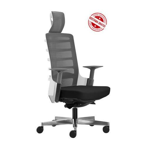 Fotel biurowy spinelly 999w - biały, wysuw siedziska + 21 kolorów siedziska marki Unique