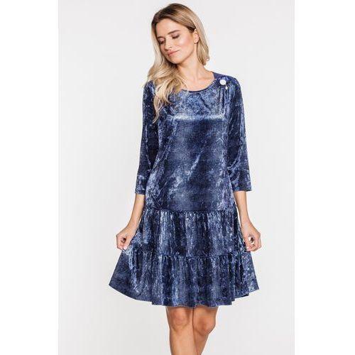 Welurowa sukienka z aplikacją a'la dżins - Margo Collection, kolor niebieski