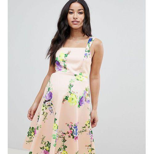 ASOS DESIGN Maternity midi floral prom dress with square neck - Multi