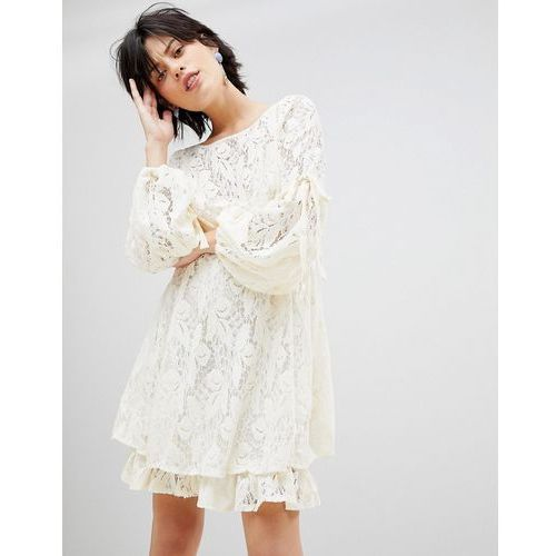 ruby lace dress with tie sleeves - white, Free people, 34-36