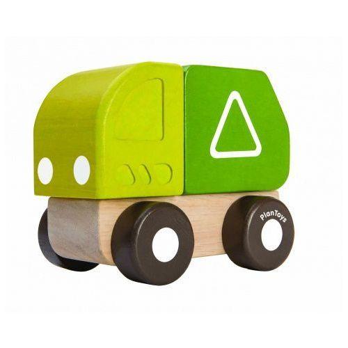 Drewniane mini autko - śmieciarka z ruchomym pojemnikiem, Plan Toys, PLA3291