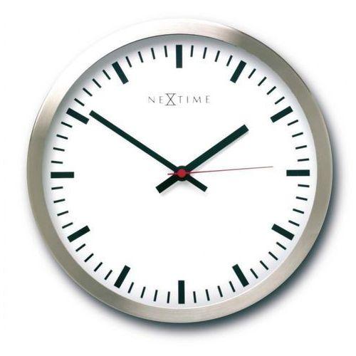 Nextime Zegar ścienny stripe - biały - różne rozmiary - 26 cm