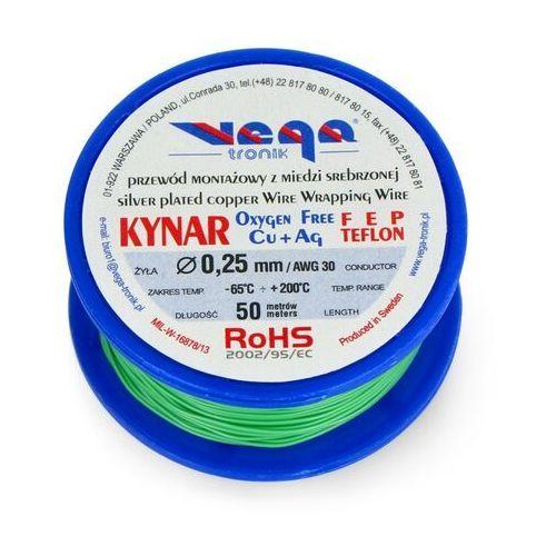 Przewód montażowy Kynar z miedzi srebrzonej - 0,25mm/AWG 30 - zielony - 50m, kolor zielony