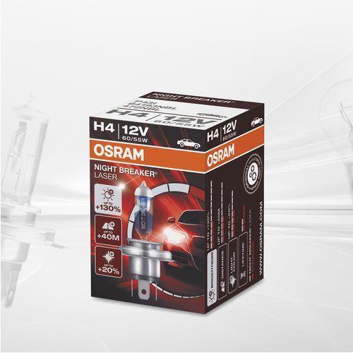 OSRAM H4 12V 60/55W P43t NIGHT BREAKER® LASER (do +130% więcej światła, do 40m dłuższy zasięg, do +20% bielsze światło)
