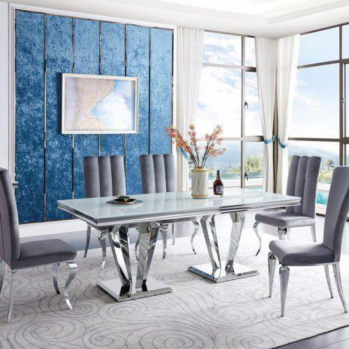 Stół glamour Belmont - stal szlachetna blat szklany nowoczesny, Belmont/SP2