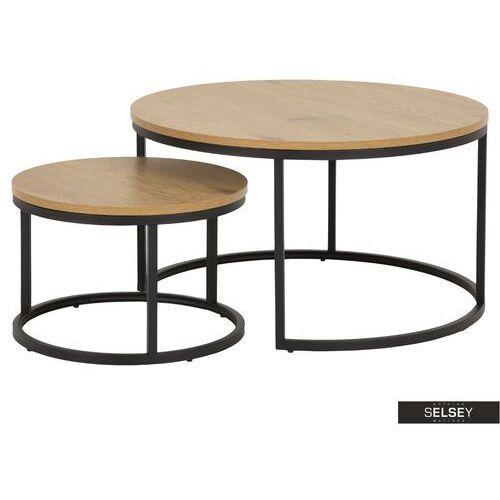 zestaw dwóch stolików kawowych okrągłych birgita dąb marki Selsey