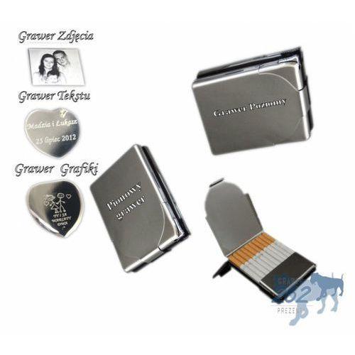 Papierośnica metalowa z zapalniczką +GRAWER, towar z kategorii: Papierośnice i pudełka na cygara