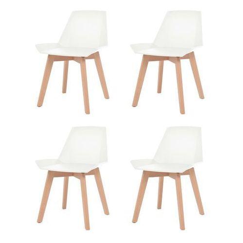 Vidaxl komplet 4 krzeseł, drewniane nogi i białe, plastikowe siedziska (8718475564904)