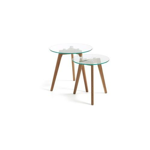 LaForma:: Szklane stoliki kawowe Kirb (2 set) - szklane