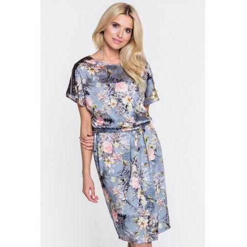 Szara sukienka w kwiaty Eskala - Anataka, 1 rozmiar