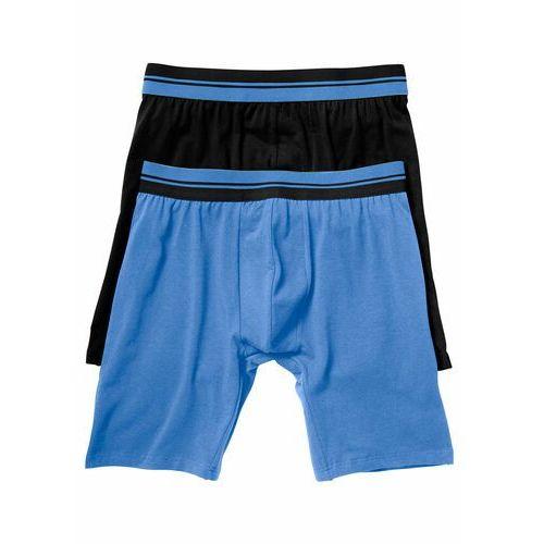 Długie bokserki (2 pary) bonprix czarny + niebieski, kolor wielokolorowy