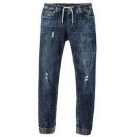 Dżinsy ze stretchem i gumką w talii Slim Fit Straight bonprix ciemnoniebieski, jeansy