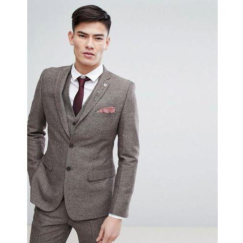 French Connection Semi Plain Donegal Slim Fit Suit Jacket - Tan