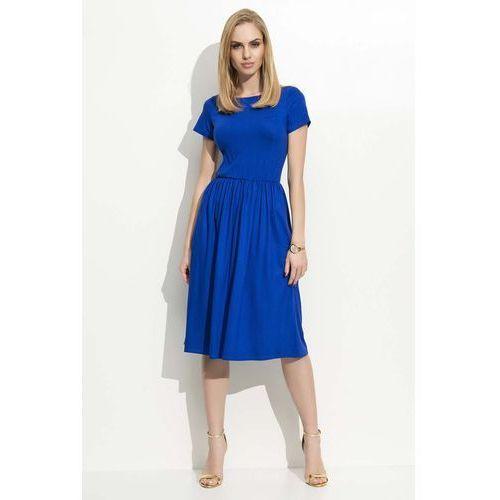 Chabrowa Sukienka Klasyczna Rozkloszowana z Krótkim Rękawem, DF17be